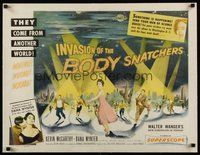 6x003 INVASION OF THE BODY SNATCHERS linen B 1/2sh '56 classic spotlight style on no other poster!