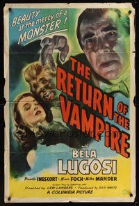 6x265 RETURN OF THE VAMPIRE 1sh '44 cool image of Bela Lugosi & werewolf choking pretty girl!