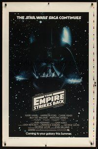 6y474 EMPIRE STRIKES BACK printer's test white title advance 1sh '80 cool c/u image of Darth Vader head!