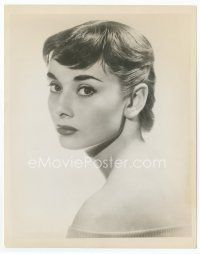 7b002 AUDREY HEPBURN 8x10 still '57 semi-profile head & shoulders portrait with bare shoulders!