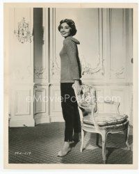 7b004 AUDREY HEPBURN 8x10 still '57 full-length standing by chair from Love in the Afternoon!