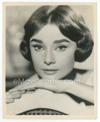 7b003 AUDREY HEPBURN 8x10 still '57 c/u resting her head on her hand from Love in the Afternoon!