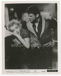 7b033 BUS STOP 8x10 still '56 Don Murray looks at sexy Marilyn Monroe leaning on juke box!