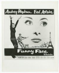 7b013 FUNNY FACE 8x10 still '57 6sh art of Audrey Hepburn close up & full-length + Fred Astaire!