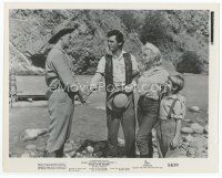 7b031 RIVER OF NO RETURN 8x10 still '54 sexy Marilyn Monroe, Mitchum shake hands with Calhoun!
