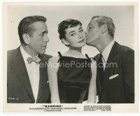 7b012 SABRINA 8x10 still '54 Humphrey Bogart watches William Holden kiss Audrey Hepburn's cheek!