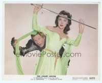 7b055 COURT JESTER color 8x10 still '55 wacky Danny Kaye hides behind pretty Glynis Johns!