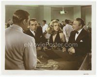 7b057 DEAD RECKONING color 8x10 still '47 Humphrey Bogart & sexy Lizabeth Scott gambling at craps!