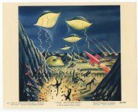 7b071 MYSTERIANS color 8x10 still #10 '59 art of alien ships attacking Earth's surface by Rigg!