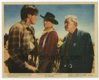 7b076 SEARCHERS color 8x10 still '56 John Ford, c/u of John Wayne between Jeff Hunter & Ward Bond!