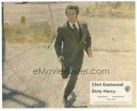 7b059 DIRTY HARRY English FOH LC '71 full-length Clint Eastwood running w/gun, Don Siegel classic
