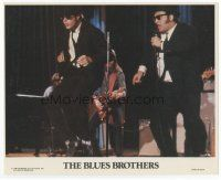 7b048 BLUES BROTHERS 8x10 mini LC '80 close up of John Belushi & Dan Aykroyd performing on stage!