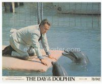 7b056 DAY OF THE DOLPHIN 8x10 mini LC #8 '73 close up of George C. Scott with talking dolphins!