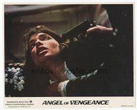7b067 MS. .45 int'l 8x10 mini LC '81 c/u of Zoe Tamerlis with gun to her head, Angel of Vengeance!