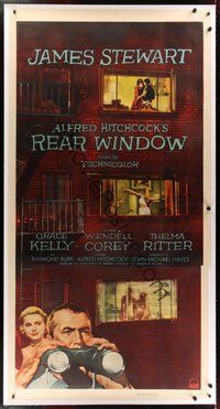 7k002 REAR WINDOW linen 3sh '54 Alfred Hitchcock, art of voyeur Jimmy Stewart & sexy Grace Kelly!