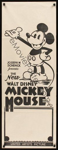 7m109 NEW WALT DISNEY MICKEY MOUSE Aust daybill 32 great cartoon image with pie-cut eyes