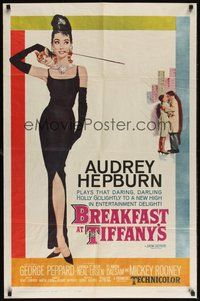 7m008 BREAKFAST AT TIFFANY'S 1sh '61 most classic artwork of sexy elegant Audrey Hepburn!