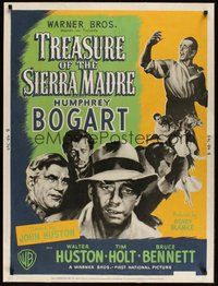 7p090 TREASURE OF THE SIERRA MADRE style B 30x40 '48 Humphrey Bogart, Tim Holt & Walter Huston!
