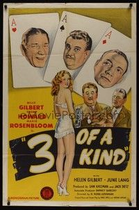 7r006 3 OF A KIND 1sh '44 Shemp Howard, Billy Gilbert, Maxie Rosenbloom, cool playing card design!