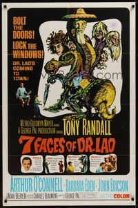 7r011 7 FACES OF DR. LAO 1sh '64 great art of Tony Randall's personalities by Joseph Smith!