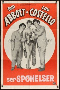 7r014 ABBOTT & COSTELLO STOCK 1sh '50s cool stock poster of Bud & Lout + sexy girl!