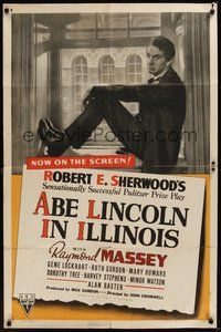 7r015 ABE LINCOLN IN ILLINOIS 1sh '40 Raymond Massey as Abraham Lincoln!