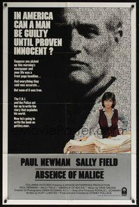 7r016 ABSENCE OF MALICE int'l 1sh '81 Paul Newman, Sally Field, Sydney Pollack, cool design!