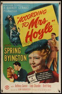 7r017 ACCORDING TO MRS HOYLE 1sh '51 Anthony Caruso, Spring Byington What a Gal!