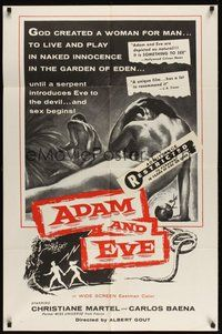 7r018 ADAM & EVE int'l 1sh '58 sexiest artwork of naked man & woman in the Mexican Garden of Eden!