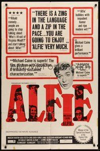 7r027 ALFIE 1sh '66 British cad Michael Caine loves them and leaves them, ask any girl!
