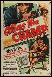7r028 ALIAS THE CHAMP 1sh '49 cool art of pro wrestler Gorgeous George in the ring!