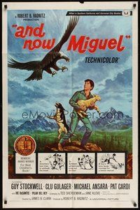 7r041 AND NOW MIGUEL 1sh '66 artwork of Guy Stockwell protecting lamb from eagle!