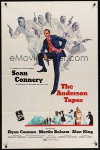 7r043 ANDERSON TAPES 1sh '71 art of Sean Connery & gang of masked robbers, Sidney Lumet!