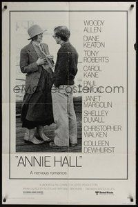 7r048 ANNIE HALL 1sh '77 full-length Woody Allen & Diane Keaton, a nervous romance!