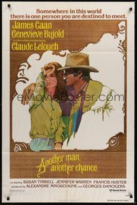 7r049 ANOTHER MAN ANOTHER CHANCE 1sh '77 Claude Lelouch, art of James Caan & Genevieve Bujold!