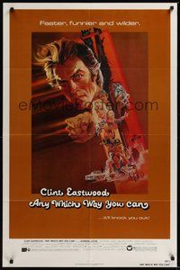 7r050 ANY WHICH WAY YOU CAN 1sh '80 cool artwork of Clint Eastwood & Clyde by Bob Peak!
