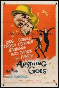 7r051 ANYTHING GOES 1sh '56 Bing Crosby, Donald O'Connor, Jeanmaire, music by Cole Porter!