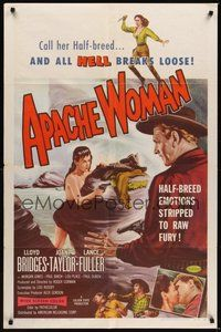 7r052 APACHE WOMAN 1sh '55 art of naked cowgirl in water pointing gun at Lloyd Bridges!