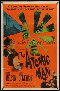 7r057 ATOMIC MAN 1sh '56 wacky image of the man with the radio-active brain, plus Faith Domergue!