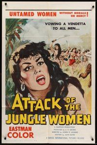 7r058 ATTACK OF THE JUNGLE WOMEN 1sh '59 art of sexy untamed women without morals or mercy!