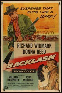 7r062 BACKLASH 1sh '56 Richard Widmark knew Donna Reed's lips but not her name!