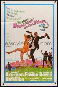 7r067 BAREFOOT IN THE PARK 1sh '67 artwork of frollicking Robert Redford & sexy Jane Fonda!
