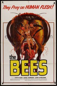 7r073 BEES 1sh '78 they prey on human flesh, giant killer bee & sexy girl artwork by Kollar!
