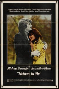7r074 BELIEVE IN ME 1sh '71 close up of Michael Sarrazin holding Jacqueline Bisset!