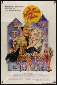 7r078 BEST LITTLE WHOREHOUSE IN TEXAS 1sh '82 art of Burt Reynolds & Dolly Parton by Gouzee!