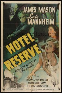 7r001 HOTEL RESERVE 1sh '44 James Mason, Lucie Mannheim, cool stone litho artwork!