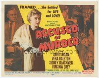 7s013 ACCUSED OF MURDER TC '57 Vera Ralston with fur holding gun, she battled for life & love!