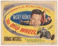 7s029 BIG WHEEL TC '49 headshot of Mickey Rooney + cool Indy 500 car racing artwork!