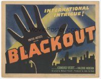 7s031 BLACKOUT TC '40 Michael Powell English film noir, cool hand over skyline image!