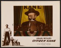7s002 CITIZEN KANE photolobby '41 best image of Orson Welles in front of huge poster at rally!